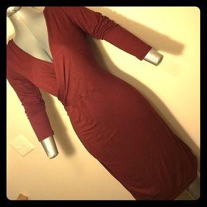 NWOT Ann Taylor Loft Criss Cross Pleated Tee Dress